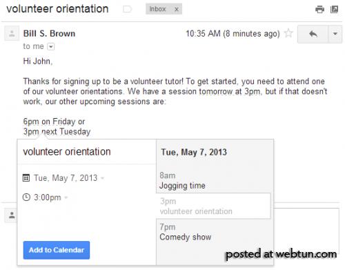 Создание события вКалендаре изписьма вGmail