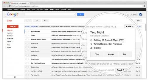 В Gmail добавлены кнопки быстрых действий