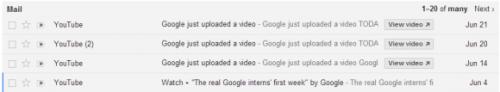 Быстрые действия вGmail списьмами отYouTube