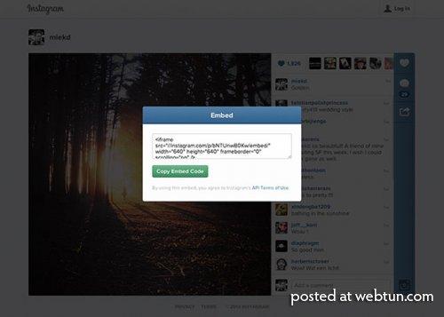 В Instagram появилась функция встраивания медиафайлов во внешние сайты