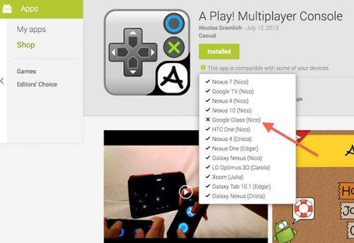 Редизайн магазина Google Play указывает на поддержку Google Glass