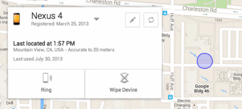 ������ Android Device Manager ������� ����� ��������� �������