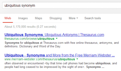 Находим синонимы спомощью Google