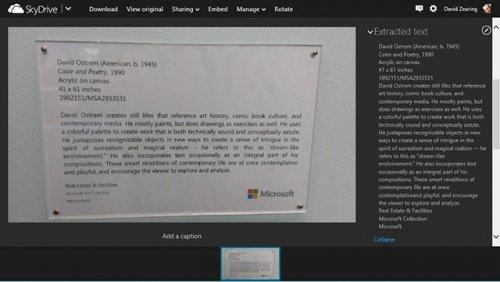 Microsoft добавила оптическое распознавание текста в фотографиях SkyDrive