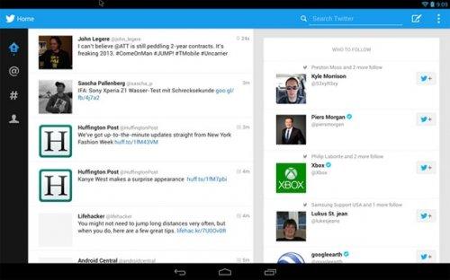 Twitter может вскоре выпустить обновление клиента для Android-планшетов