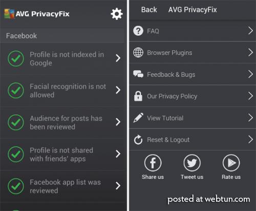 AVG PrivacyFix: исправляем настройки социальных сетей на смартфоне