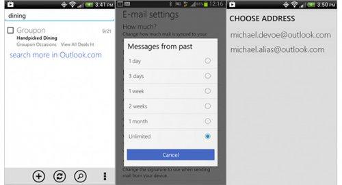 Microsoft обновила приложение Outlook.com для Android