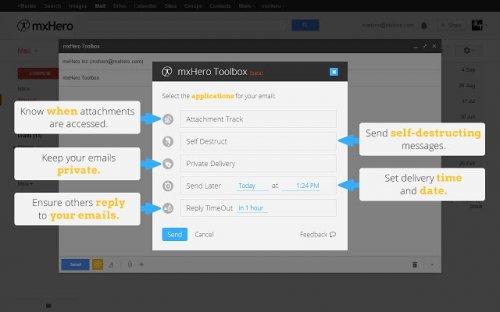 Отправка саморазрушающихся электронных писем Gmail с использованием дополнения mxHero Сhrome Toolbox
