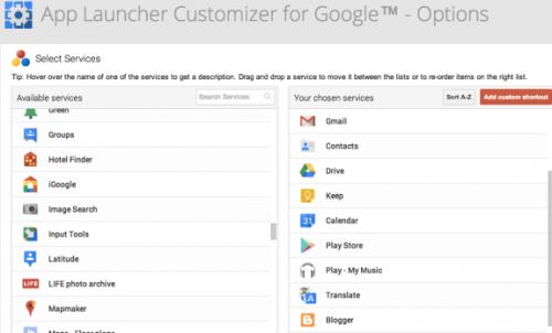 Настраиваем панель запуска сервисов Google