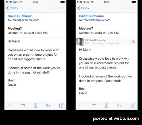 LinkedIn Intro ��������� ������������� ������� LinkedIn � �������� ���������� Apple Mail