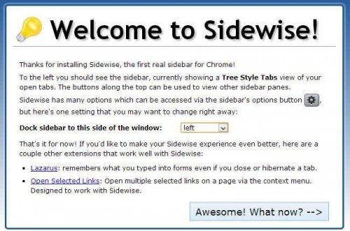 Управляем большим количеством вкладок в Chrome при помощи Sidewise