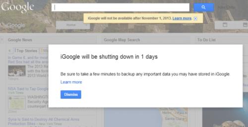 Страница iGoogle больше не открывается