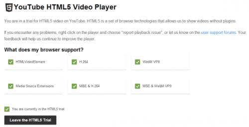 YouTube показывает, поддерживает ли браузер Media Source Extensions