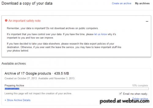 Новый интерфейс Архиватора Google