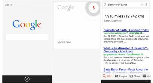 Google обновила поисковое приложение для платформы Windows Phone