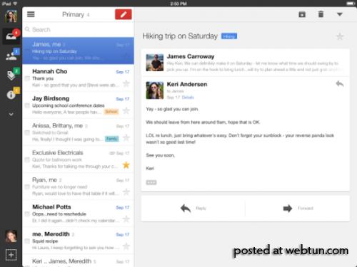 Новый интерфейс Gmail дляiPad