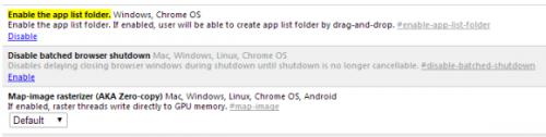Папки в панели запуска приложений Chrome