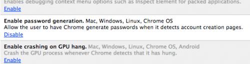 Активируем генератор паролей в Google Chrome