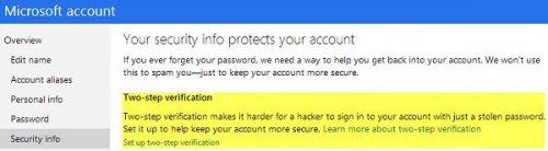Включаем двухэтапную авторизацию в учетной записи Microsoft