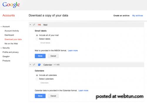 Google сообщила о внедрении функции экспорта данных из сервисов Gmail и Calendar