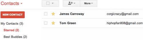 Отмечаем контакты в Gmail