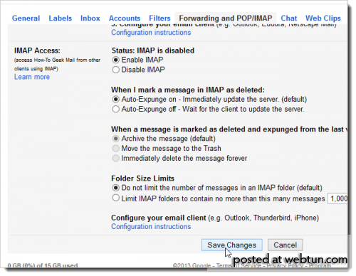 ��� �������� ������ Gmail � Outlook 2013 � �������������� IMAP