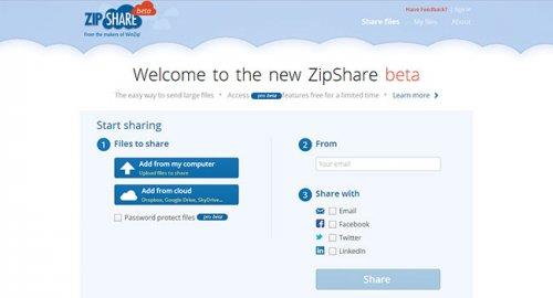 ZipShare - �������� ������ � �������������� �������������� ����������� ������