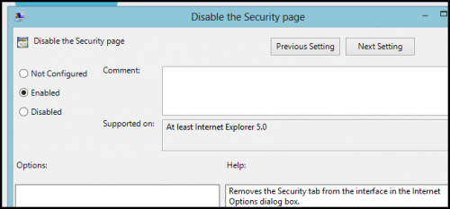 ��� ��������� � Internet Explorer, ���������� ��� Windows 8, ������� Security � Privacy