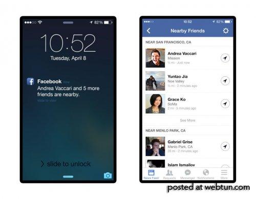 Facebook покажет пользователям друзей неподалёку