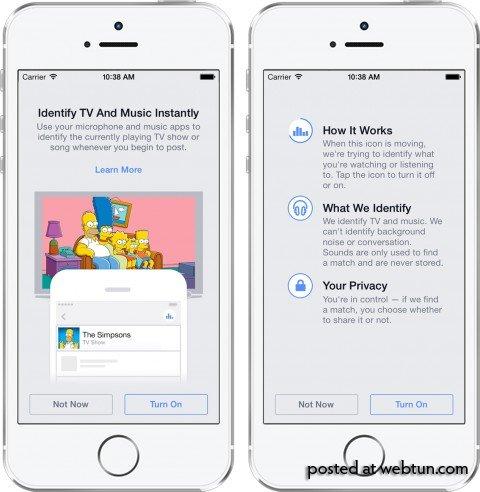 Facebook-приложение будет автоматически распознавать музыку, кино и ТВ-шоу