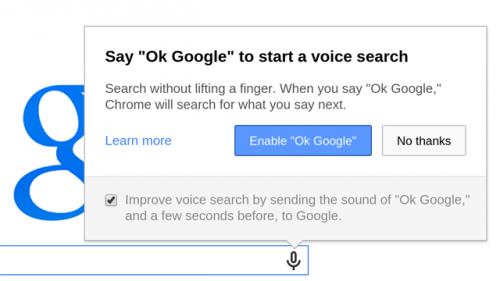 В последней стабильной версии браузера Chrome появилась возможность включать голосовой поиск без рук