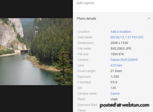 Поисковые ссылки на модель камеры в Google+ Фото