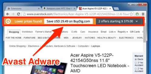 Avast следил за тем какие сайты посещают пользователи и добавлял рекламу в браузер