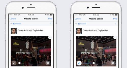 В мобильном приложении Facebook появилась функция автоматического улучшения фотографий