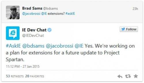 Браузер Microsoft «Spartan» позволит устанавливать расширения