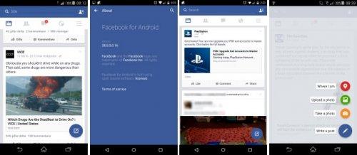 Facebook тестирует приложение с элементами «вещественного» дизайна