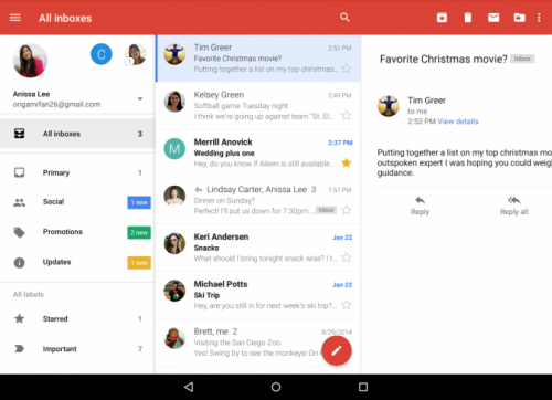 Приложение Gmail для Android теперь отображает в одной папке письма из различных аккаунтов