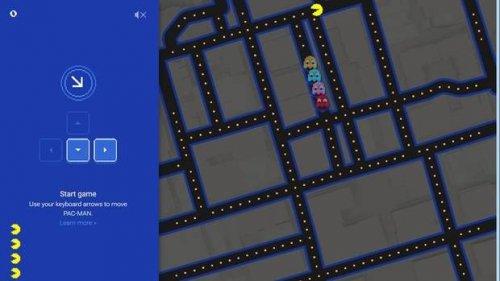 Google предлагает сыграть в Pac-Man в сервисе Google Maps