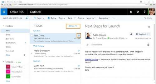 В почте Outlook появятся «лайки» и упоминания